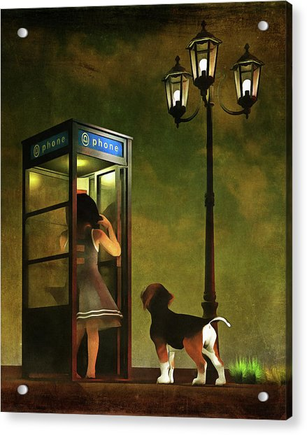 Acrylic Print featuring the painting Phoning Home by Jan Keteleer