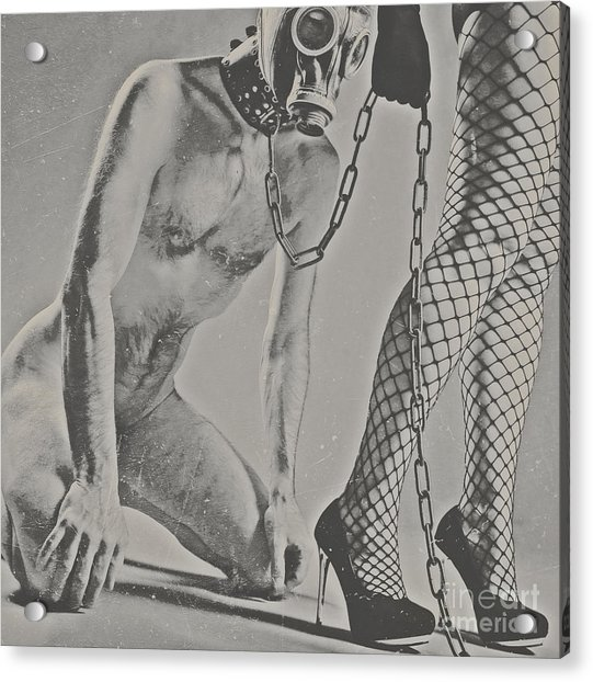 Photograph Bdsm Style In Black And White #0547d Acrylic Print