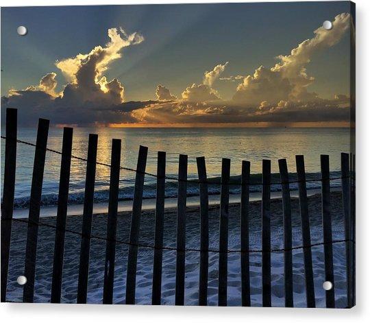 Picket Fence On The Beach Acrylic Print