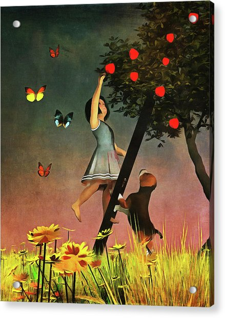 Acrylic Print featuring the painting Picking Apples Together by Jan Keteleer
