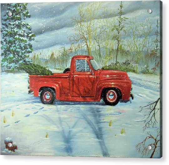 Picking Up The Christmas Tree Acrylic Print