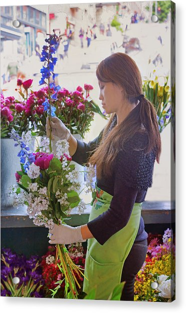 Pike Place Market - Flower Vendor Acrylic Print by Nikolyn McDonald