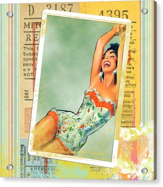 Pin Up Girl Square Acrylic Print