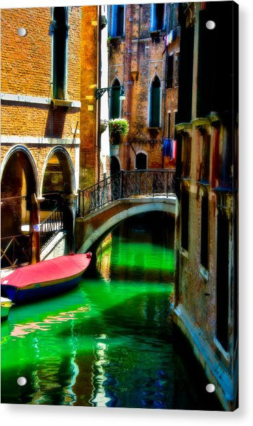 Pink Boat And Canal Acrylic Print