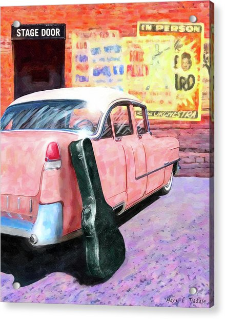 Pink Cadillac At The Stage Door Acrylic Print