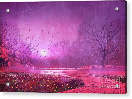 Acrylic Print featuring the painting Pink Landscape by Tithi Luadthong