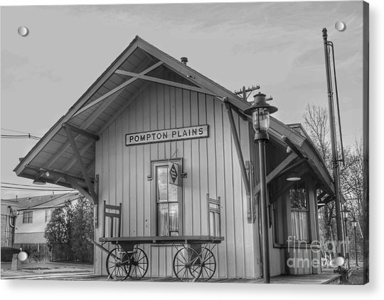 Pompton Plains Railroad Station And Baggage Cart Acrylic Print