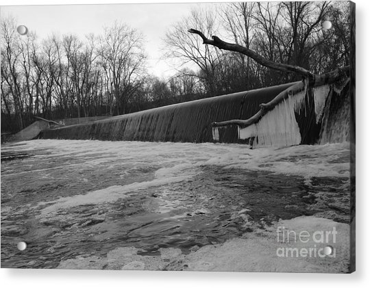 Falling Water On The Pompton Spillway In Winter Acrylic Print