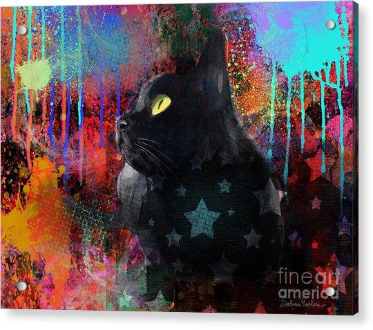 Pop Art Black Cat Painting Print Acrylic Print