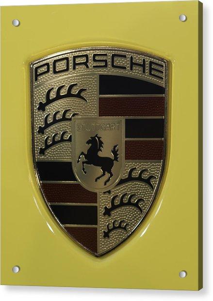 Porsche Emblem On Racing Yellow Acrylic Print