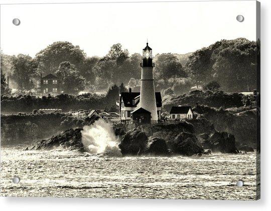 Portland Head Light At Cape Elizabeth In Black And White Acrylic Print