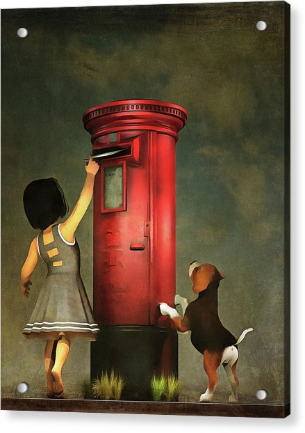 Acrylic Print featuring the painting Posting A Letter Together by Jan Keteleer