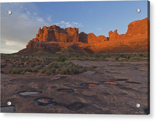 Puddle Reflections At Sunrise Acrylic Print