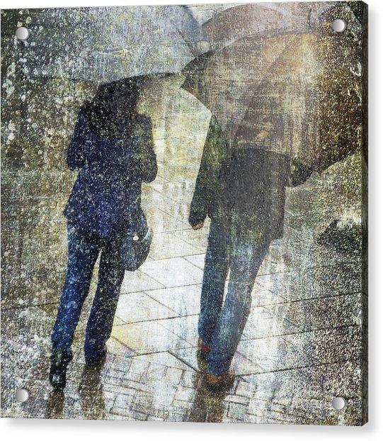 Rain Through The Fountain Acrylic Print