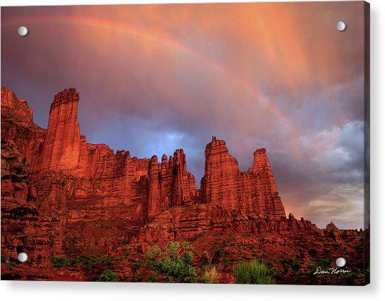 Rainbow In Virga Over Fisher Towers Acrylic Print