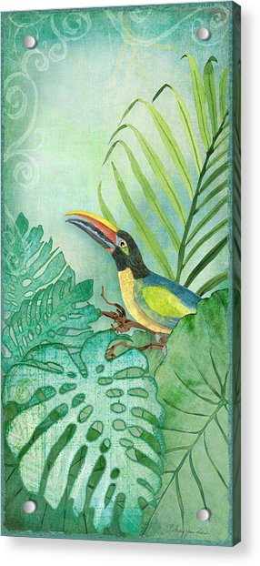 Rainforest Tropical - Tropical Toucan W Philodendron Elephant Ear And Palm Leaves Acrylic Print