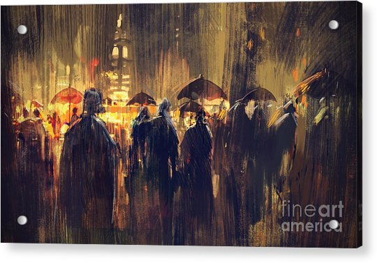Acrylic Print featuring the painting Raining by Tithi Luadthong