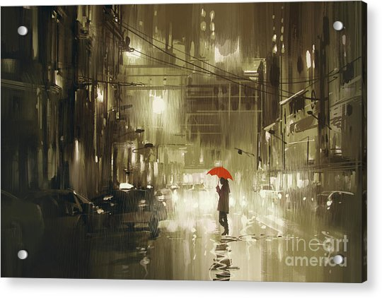 Acrylic Print featuring the painting Rainy Night by Tithi Luadthong