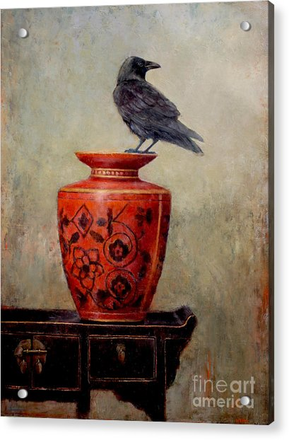 Raven On Red  Acrylic Print