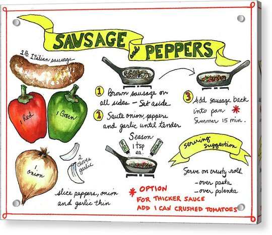 Recipe Sausage And Peppers Acrylic Print