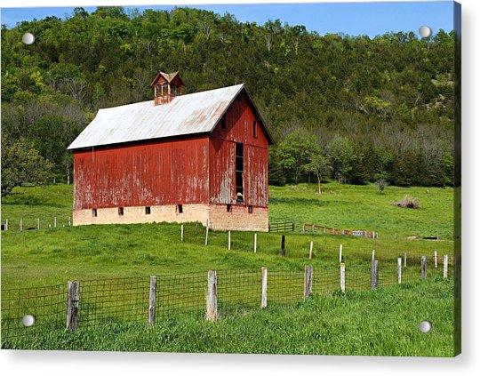 Red Barn With Cupola Acrylic Print
