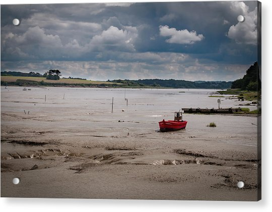 Red Boat On The Mud Acrylic Print