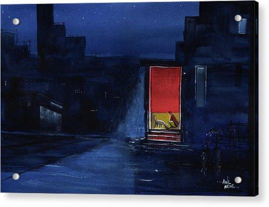 Red Curtain Acrylic Print