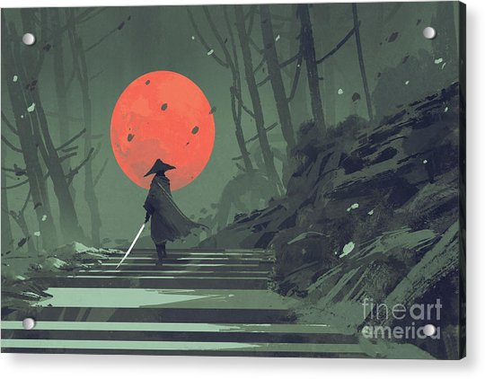 Acrylic Print featuring the painting Red Moon Night by Tithi Luadthong