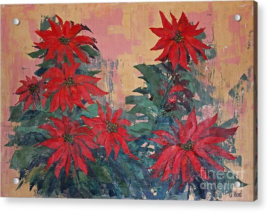 Red Poinsettias By George Wood Acrylic Print