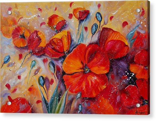 Red Poppy Meadows Acrylic Print