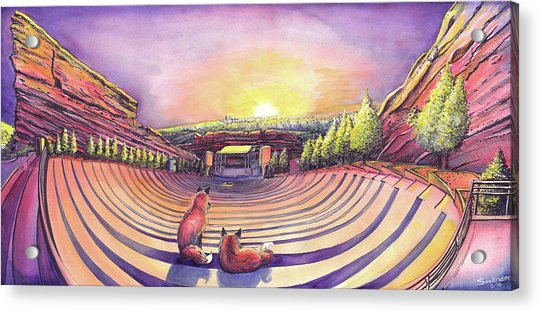Foxes At Red Rocks Sunrise Acrylic Print