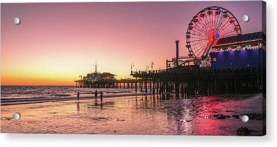 Red Sunset In Santa Monica Acrylic Print