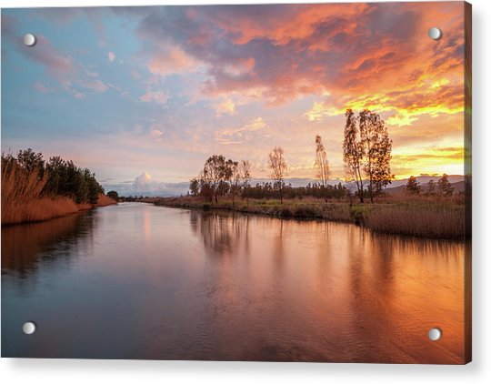 Red Sunset On The Pond Acrylic Print