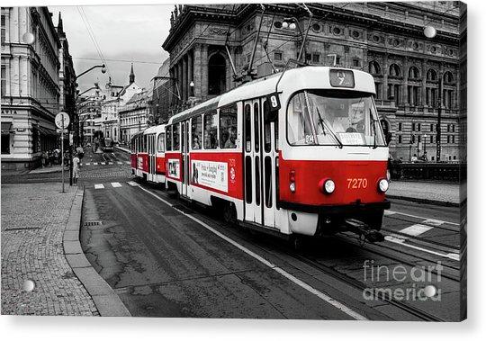Prague - Red Tram Acrylic Print