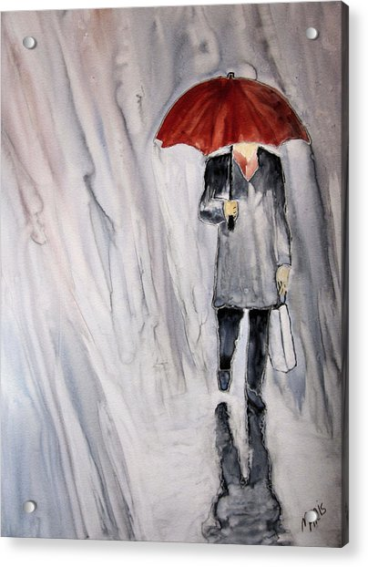 Red Umbrella Acrylic Print by Maris Sherwood