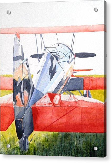 Reflection On Biplane Acrylic Print