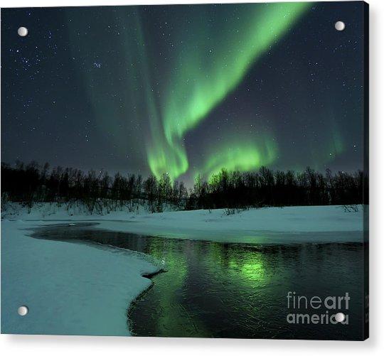 Reflected Aurora Over A Frozen Laksa Acrylic Print