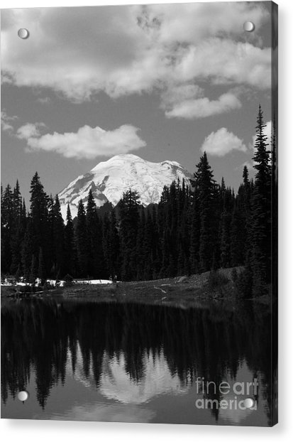 Mt. Rainier Reflection In Black And White Acrylic Print