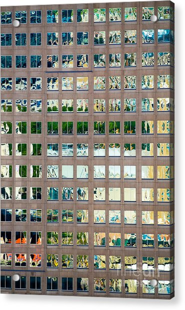 Reflections In Windows Of Office Building Acrylic Print