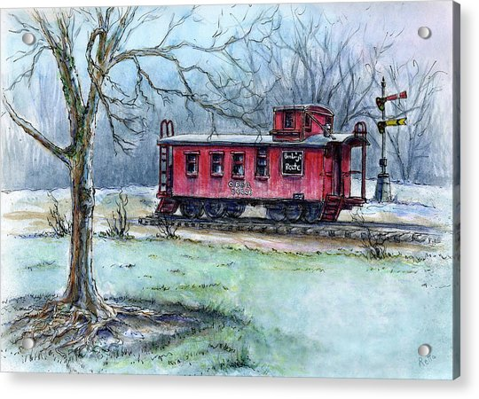 Retired Red Caboose Acrylic Print
