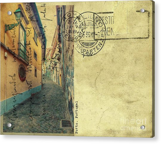retro postcard of Porto, Portugal  Acrylic Print