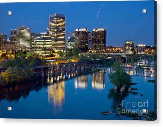Acrylic Print featuring the photograph Richmond Skyline Helo Trail by Jemmy Archer