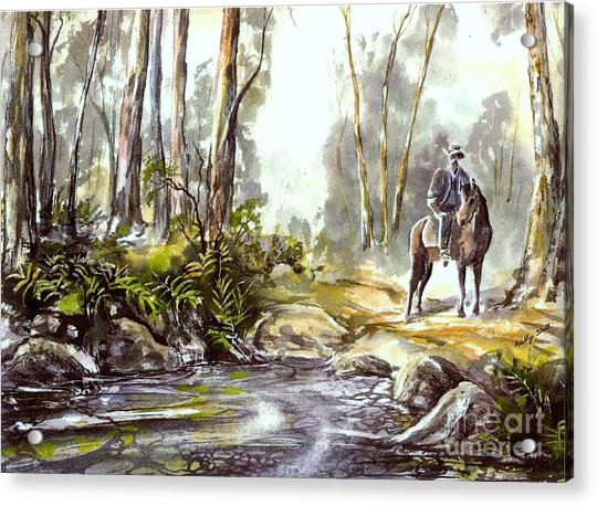 Rider By The Creek Acrylic Print