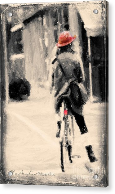 Riding My Bicycle In A Red Hat Acrylic Print