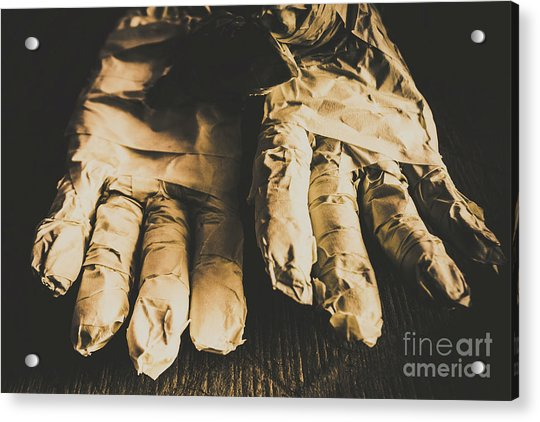 Rising Mummy Hands In Bandage Acrylic Print