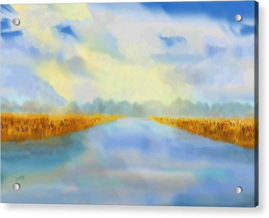 Acrylic Print featuring the painting River Blue by Valerie Anne Kelly