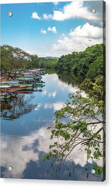 River Boats Docked In Negril, Jamaica Acrylic Print