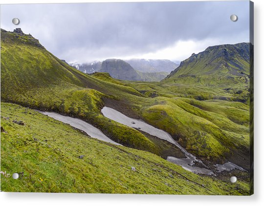 Rolling Lava Flows Entering Iceland's Thorsmork Nature Reserve Acrylic Print