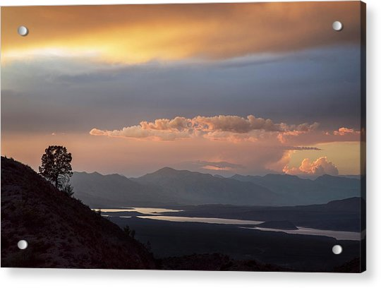Roosevelt Lake At Sunset Acrylic Print by Dave Dilli
