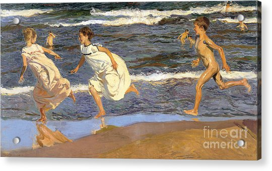 Running Along The Beach Acrylic Print